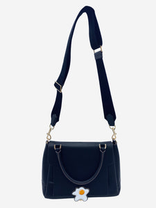 Bathurst black leather small satchel crossbody bag with egg fastening