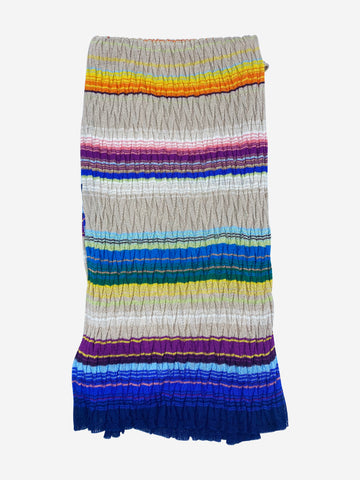Multicoloured striped knitted scarf