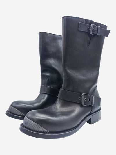 Black leather boots with buckles - size EU 35.5