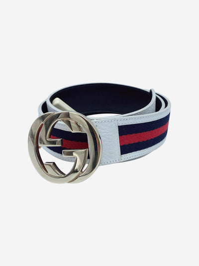 Cream, navy & white striped GG logo belt