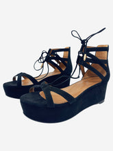 Load image into Gallery viewer, Beverly Hills black lace up suede flatform sandals - size 4