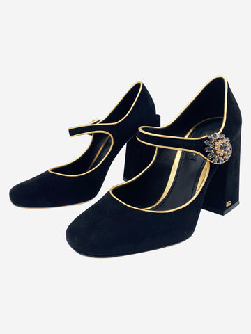 Black suede Mary Jane heels with gold trim - size 4.5