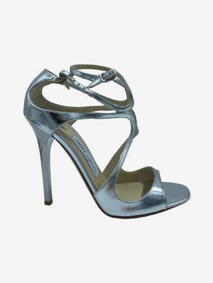 Lang 100 silver metallic leather open toe heels - size 4.5