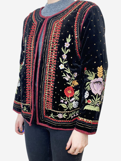 Black velvet jacket with floral bead embroidery - size L