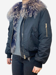 baartmans and siegel Navy bomber jacket with fur lining/collar - size UK 10