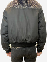 Load image into Gallery viewer, Navy bomber jacket with fur lining/collar - size UK 10