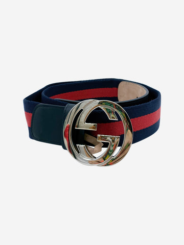 Nylon Web navy and red belt with silver double G buckle - size 10