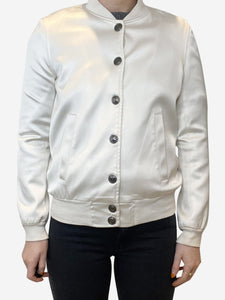 Pierre Balmain Cream long sleeve satin bomber jacket  - size 8