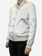 Load image into Gallery viewer, Cream long sleeve satin bomber jacket  - size 8