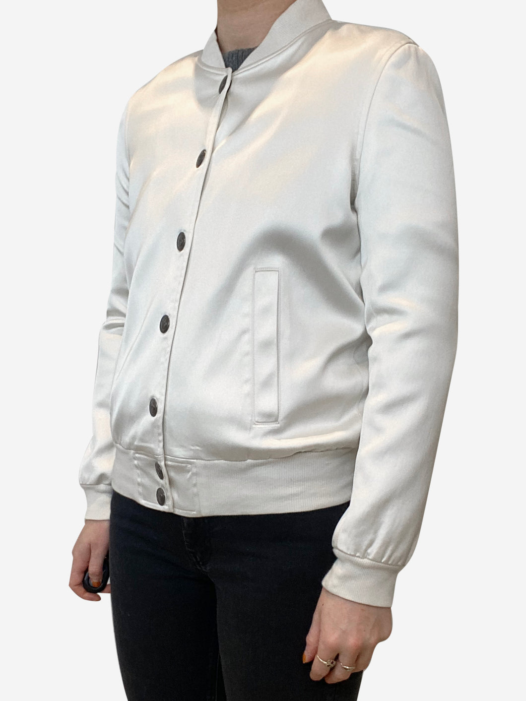 Cream long sleeve satin bomber jacket  - size 8