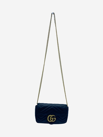 GG Marmont matelasse leather super mini black crossbody  bag