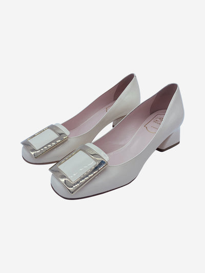 Cream patent leather block heels with broche - size EU 38
