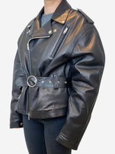 Load image into Gallery viewer, Black soft leather oversized biker jacket with fur lining- size UK 10