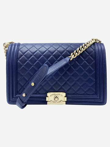 Navy blue quilted large Boy bag with gold hardware