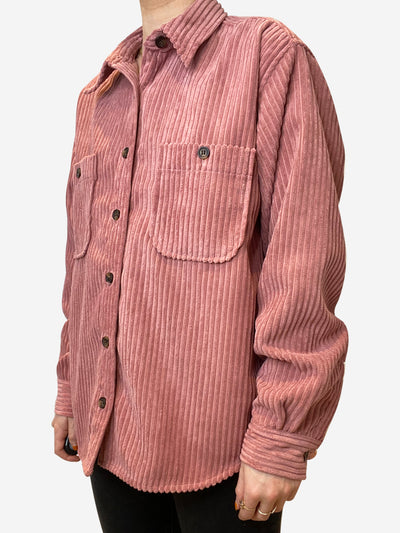 Pink corduroy button up shirt jacket - size FR 36