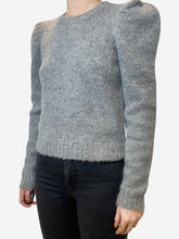 Load image into Gallery viewer, Grey puff shoulder short jumper - size S
