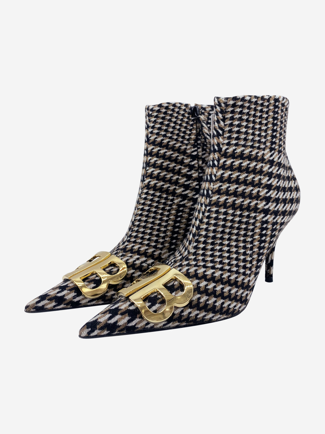 Black & cream houndstooth Knife boots - size EU 38