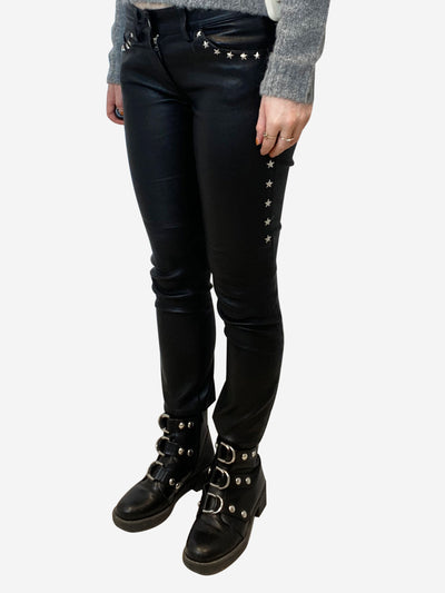 Black faux leather trousers with silver star studs- size UK 8