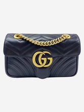 Load image into Gallery viewer, Black GG Marmont small matelassé shoulder bag with heart