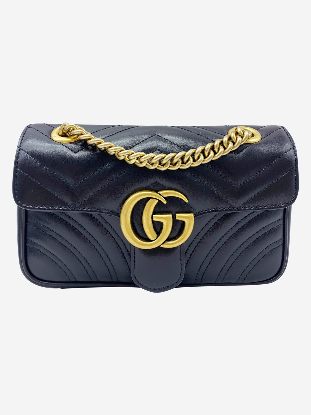 Black GG Marmont small matelassé shoulder bag with heart