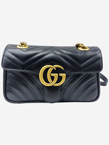 Gucci Black GG Marmont small matelassé shoulder bag with heart