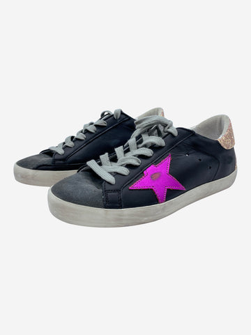 Black distressed trainers with pink star and glitter accents- size EU 36