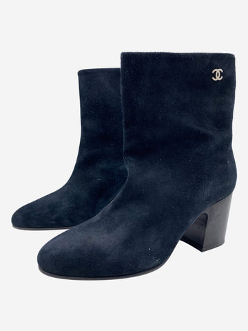 Navy suede round toe ankle boots with low heel - size EU 35.5