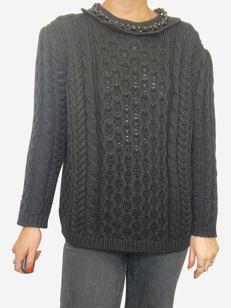 Black cable knit sweater with bead-embellished collar - size XS