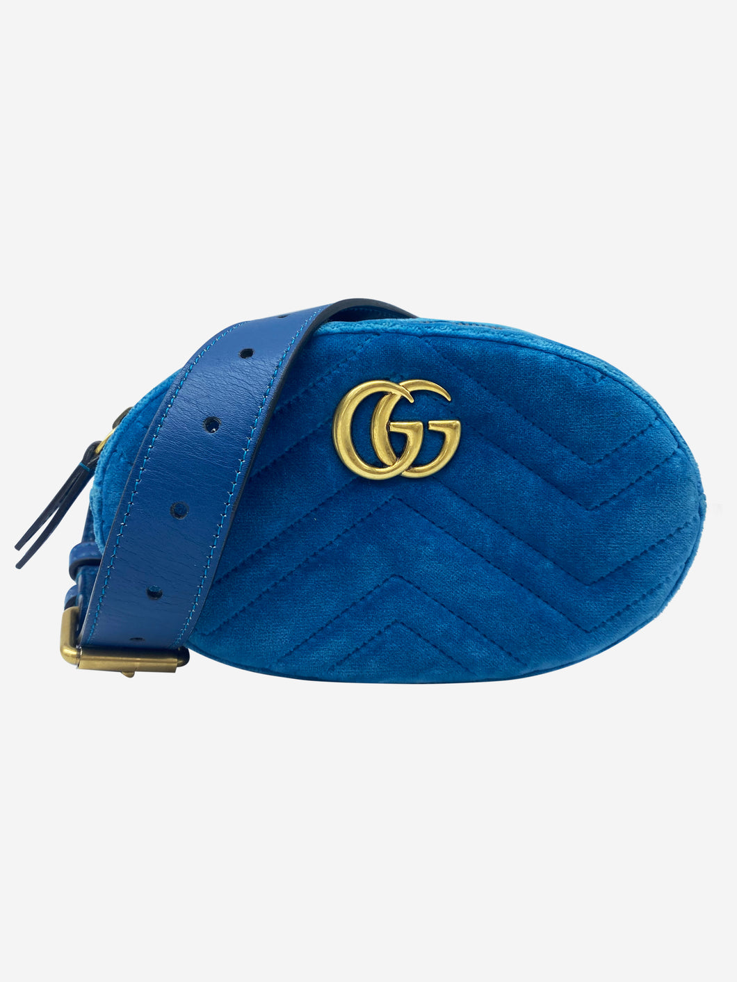 Teal blue velvet GG Marmont belt bag