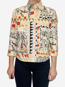 Beige and red Venice Italy print shirt - size IT 42