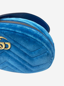 Gucci Teal blue velvet GG Marmont belt bag