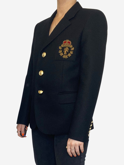 Navy velvet blazer with gold pocket motif - size FR 38