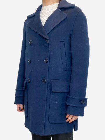 Navy cashmere double breasted pea coat - size IT 40