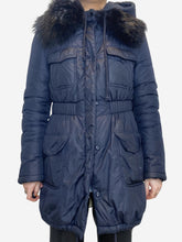 Load image into Gallery viewer, Navy hooded coat with fur lined collar - size UK 10