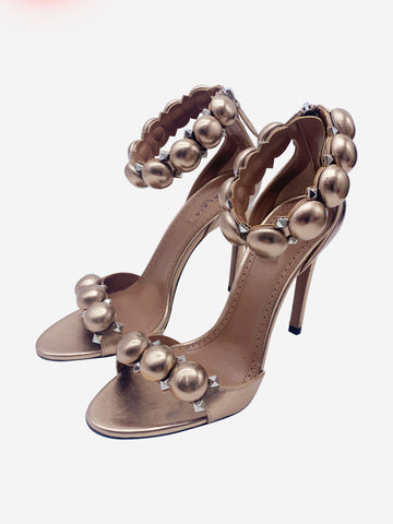 Pink rose gold leather ball detail strap stiletto heels - size EU 36.5