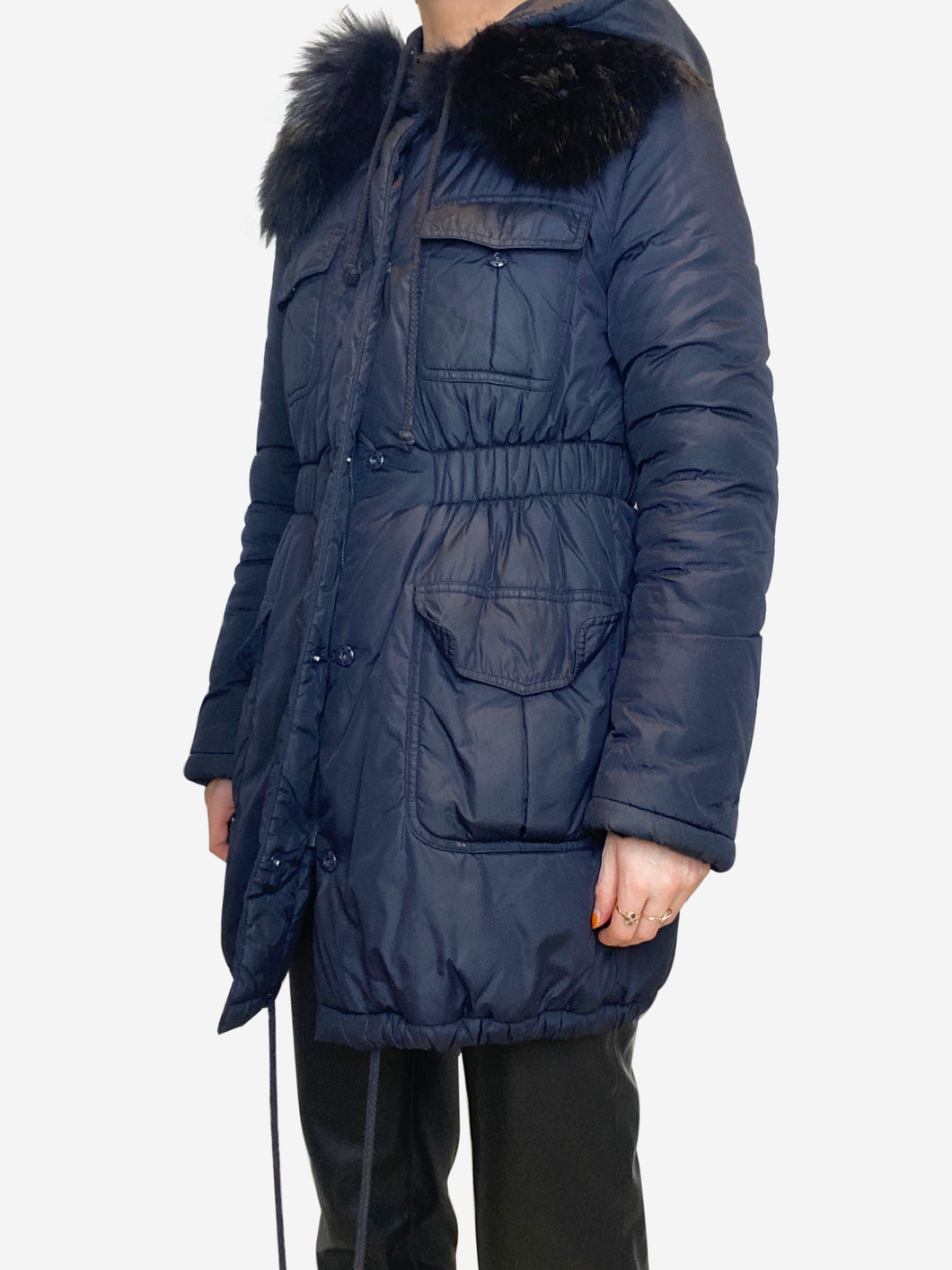 Navy hooded coat with fur lined collar - size UK 10