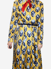 Load image into Gallery viewer, Yellow GG wallpaper printed silk bow detailing skirt and shirt set - size 10