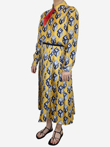 Yellow GG wallpaper printed silk bow detailing skirt and shirt set - size 10