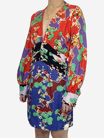 Red blue and green oriental print long sleeve mini dress - size M