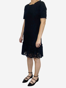 Black lace short sleeve mini dress - size IT 38