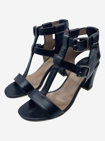 Black leather caged ankle heeled sandals - size EU 40