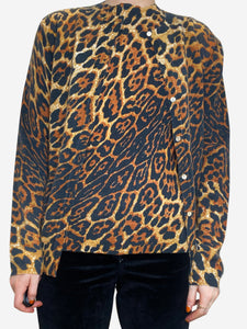Leopard print cashmere sweater and cardigan - size M