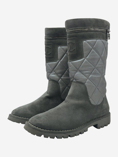 Grey suede quilted boots - size EU 39.5
