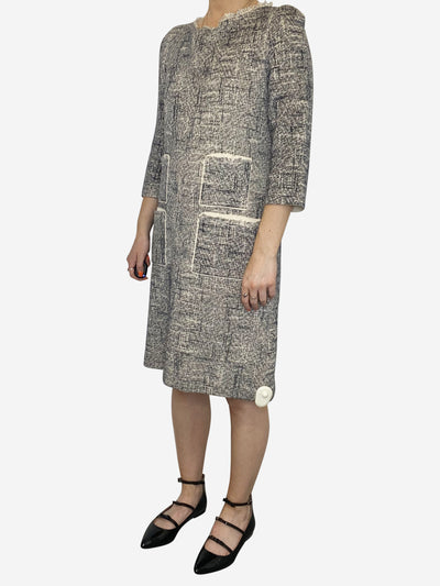 Navy and cream knitted tweed midi dress with pockets - size M