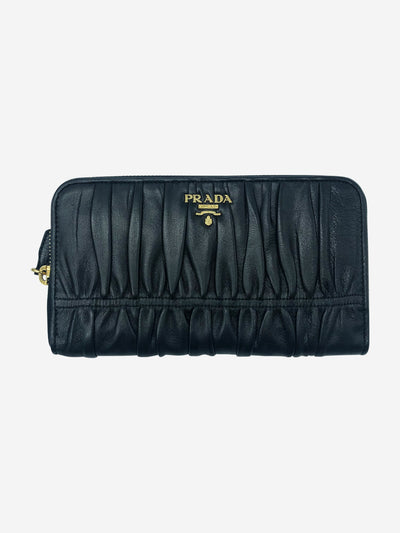Black and gold ruched leather purse