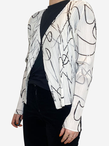white and black Pleats Please Jacket, s