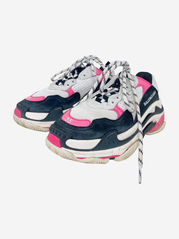 Pink, black, cream & grey Triple S distressed trainers - size EU 35
