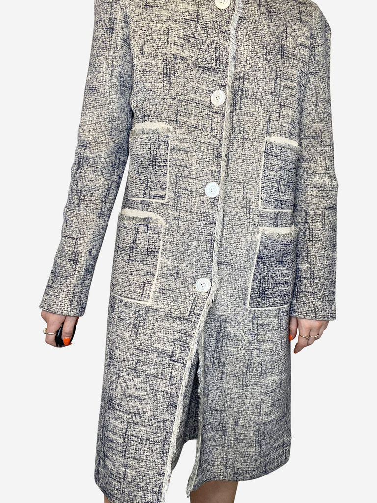 Navy and cream knitted tweed coat with pockets - size M