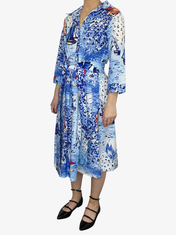 Blue long sleeve sea printed belted midi dress - size UK 8