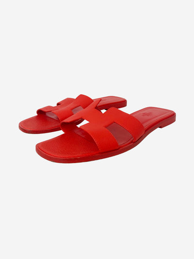 Oran red leather slip on sandals - size EU 39